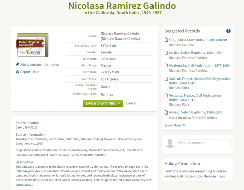 Nicolasa Galindo Death Record
