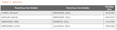 Marriage record of Rosalio Corral and Celia Hernandez (Galindo)