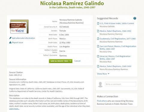 Nicolasa Galindo Death Record