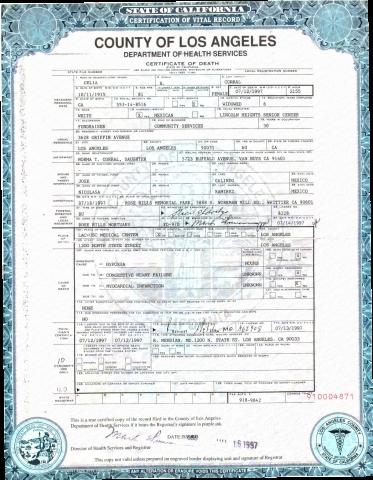 Celia Corral Death Certificate