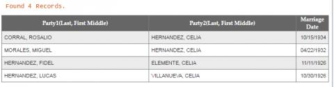 Marriage record of Rosalio Corral and Celia Hernandez (Galindo)