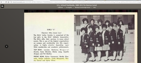 Norma Corral HS Letter 1963